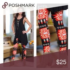 🔜 Coral and black Aztec print leggings OS Coming soon! Like to be notified or preorder now will ship Wednesday or Thursday! One size fits small-large. Soft brush knit leggings are amazingly comfortable! 92 % polyester, 8 % spandex. Softer than LuLaRoe leggings! Not sheer or see through. Pair with scoop neck ruffle tank for 50.   NOT LULAROE!! Infinity Raine Pants Leggings