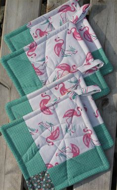 Pink Flamingo Potholders  One Set Still by RainGardenQuilts, $15.00