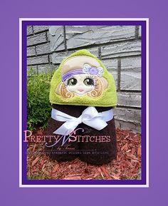 Big Eyed Beauty Miss Lucy Applique Peeker Embroidery Design hoop and and Applique Embroidery Designs, Embroidery Files, Machine Embroidery, Kids Hooded Towels, Handmade Design, Big Eyes, 4x4, Crochet Hats, Teddy Bear