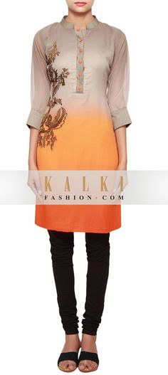 Buy Online from the link below. We ship worldwide (Free Shipping over US$100) http://www.kalkifashion.com/grey-and-orange-a-line-kurti-in-georgette-embellished-in-resham-embroidery-only-on-kalki.html