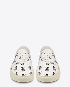 Saint Laurent Skate Lace-Up Sneakers in White and Black Pinaskullada Printed Canvas