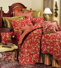 Caspienne Red Quilt by C   Caspienne Quilts, Comforters, Duvets, Draperies and Pillows   PaulsHomeFashions.com