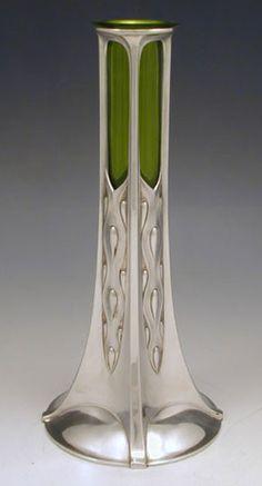 Art Nouveau Pewter WMF Vase   JV