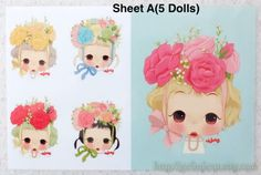 Quantity: 1 sheet  Material: Offset printing transfer  Dimensions: 5.1x 7.87 (13cm x 20cm) Sheet A: Big Doll: 10cm x 8cm / Small Doll: 5cm x 4cm Sheet B: Big Doll: 10cm x 10cm / Medium Doll: 5cm x 5cm   Please check photos for sample work.   How to use: (Pls. check last SAMPLE photo) 1.) Cutting the desired image 2.) Put the pattern side on the fabric to iron on 3.) Cover another useless fabric on the transfer, using the hottest dry setting (no steam) to heat for 10-15 seconds 4.) W...