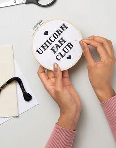 Innocent Bones Unicorn Fan Club DIY Cross Stitch Kit at asos.com