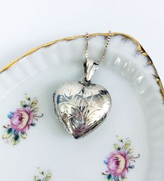 Silver Heart Locket Pendant Necklace - Etched Vintage Sterling Silver Heart Shaped Locket with Italy Box Chain - Marked 925 Sterling Silver by FourthEstateSale on Etsy https://www.etsy.com/listing/496476048/silver-heart-locket-pendant-necklace