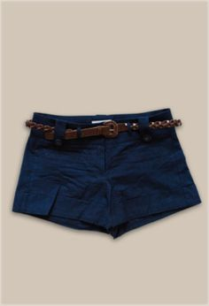 Navy Blue Shorts with Brown Weaved Belt - $20