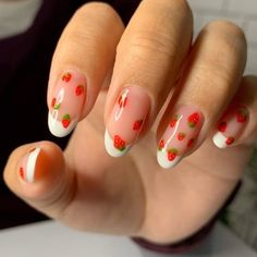 Remove Acrylic Nails, Almond Acrylic Nails, Best Acrylic Nails, Fruit Nail Designs, Acrylic Nail Designs, Nail Art Designs, Fruit Nail Art, Nail Tattoo, Funky Nails