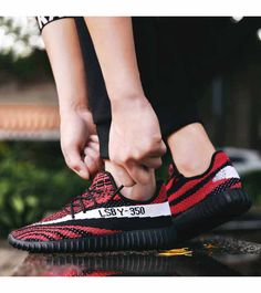 Men's #red flyknit sport shoe #sneakers pattern design, label print, Lace up style, casual, sport, trainers Occasions.