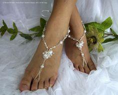 Barefoot sandals, beach wedding bridal jewelry, destination wedding sandals, wedding anklet, beaded sandals. JESSICA Medium White & Crystal via Etsy