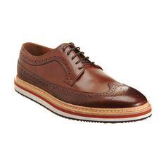 Barneys wingtip on white/orange sneaker sole