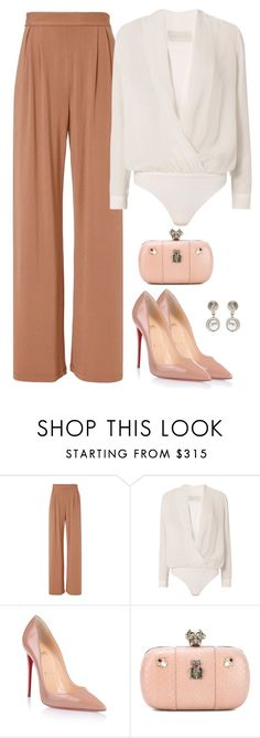 """""""Nude"""" by nadiaamrc ❤ liked on Polyvore featuring Fleur du Mal, Michelle Mason, Christian Louboutin, Alexander McQueen and Givenchy"""