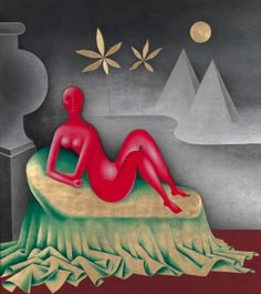 Jan Zrzavy - Kleopatra (1942-1957), oil and gold on canvas