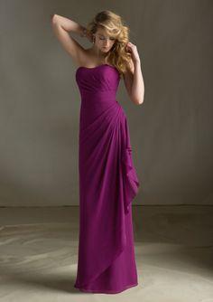 Purple Bridesmaid Dress with Ruffles #long #strapless #purple