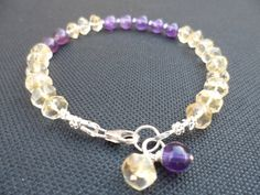 Citrine and Amethyst Gemstone Sterling Silver by Jenalynscreations, $40.99