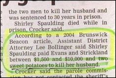 "Note that there's a ""Crocker"" involved in this crime.  I think they have it all wrong, they should see look into a Betty, she does know food after all."