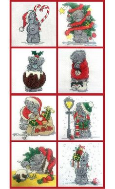 Set if 8 Mini Tatty Teddy Christmas Cross Stitch Kits £20.80 - only on Past Impressions - Heritage Crafts