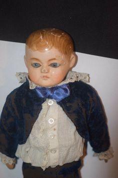 Antique Doll Papier Mache Paper Mache Boy Dressed