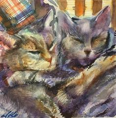 "Daily+Paintworks+-+""Long+Winters+Nap+or+Rachels+Cats""+-+Original+Fine+Art+for+Sale+-+©+jean+krueger"