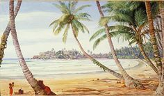 Coast at Galle. Marianne North painting.