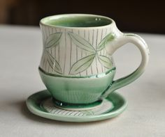Star leaf cup and saucer, 2015 by Lucy Fagella like the glaze