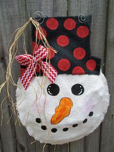 Snowman Burlap Door Hanger Door Decoration With by nursejeanneg, $30.00