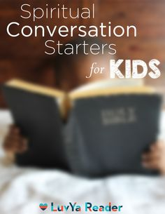 This awesome list has more than 10 Spiritual Conversation Starters for Kids (including Mini Object Lessons)! The topics range from Proverbs, to Jesus' death/resurrection to attributes of God. Great for kids under 10!