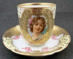 Royal Bayreuth Portrait Demitasse Cup Saucer