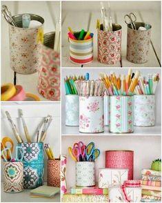 Tin can DIY crafts. Upcycled tin can. Tin Can Crafts, Tape Crafts, Crafts To Make, Crafts For Kids, Diy Crafts, Creation Deco, Ideias Diy, Diy Recycle, Craft Organization