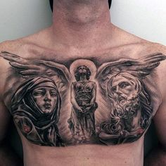 Discover depictions of struggle and sacrifice with the top 40 best Jesus chest tattoo designs for men. Explore cool religious ink ideas and body art. Jesus Tattoo, Jesus Chest Tattoo, Mary Tattoo, Christ Tattoo, Chest Tattoo Angel, Cool Chest Tattoos, Chest Piece Tattoos, Pieces Tattoo, Cool Tattoos