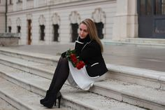 pullover - S.Oliver / blazer - Zara / skirt - from Italy / gloves - Roeckl / shoes - / earrings - KDV Koni Design Vienna For Your Eyes Only, Zara Skirts, Only Fashion, Travel Style, Messenger Bag, Blazer, Pullover, Black And White, Forever21