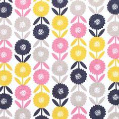 Dashwood Studio(ダッシュウッドスタジオ)「Bloom BLOO 1142 Multicolored Floral」の生地通販。「Bloom BLOO 1142 Multicolored Floral」は、パターンデザイナーRachel Caveが手がけた花柄生地。ポンポン咲きの丸い花と二枚の葉っぱが規則正しく縦に繋がって行くデザインです。ブラック・ベージュ・ピンク・マスタードの4色は彩度が抑えられ落ちついた雰囲気に仕上がっています。海外のかわいい生地が買えるお店。外国のおしゃれなファブリックを専門に取り揃える輸入生地屋さん。
