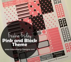 Freebie Friday: Pink and Black Theme - Interrobang Designs Free Planner Printables