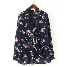 Yoins Yoins Wrap Front Floral Printing Blouse (960 INR) ❤ liked on Polyvore featuring tops, blouses, navy, shirts & tops, floral print blouse, navy blouse, navy shirt, long sleeve shirts and navy long sleeve shirt