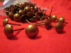 SALE~ (Usual price is $10.00)  Set of 100 high quality steel upholstery tacks with Antique Brass Finish.--------...