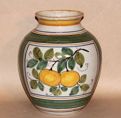 Old Antique Large Italian Art Pottery Faience Majolica Jar Vase Fruit Grapes