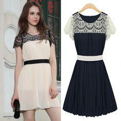 2014 New fashion short sleeve chiffon dress Spring Summer hot sale dress