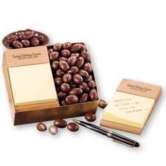 Business Gifts, Business Card Holders, Post It Note Holders, Chocolate Covered Almonds, Wood Post, Company Gifts, Employee Gifts, Client Gifts, Appreciation Gifts