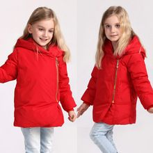 Christmas Clothes Winter Coat 2016 New Style Kids Boys Girls Warm Solid Down Jacket Inclined Zip Down Coat Girl Winter Outerwear(China (Mainland))
