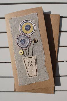 Handmade - Hand Sewn Fabric Blank Card – Vase of Flowers – Birthday / Thank You / Get Well