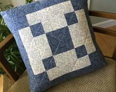 Blue Quilted Pillow Cover Handmade 18 inch Patchwork Decorative Pillow Cover Free Shipping