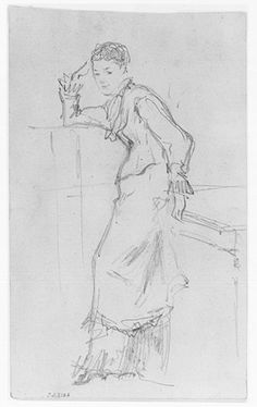 John Singer Sargent, Full-length Sketch of a Woman Resting Against a Table, 19th-20th Century | Harvard Art Museums/ Fogg Museum