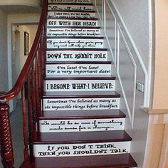 Who better than Lewis Carrol can sum up all of life's lessons in one crazy story? This decal features all the most awesome quotes from Alice In Wonderland. Put it on stairs or put around the walls. You know you want to.  Size: 24 inches wide by 2-4 inches tall for EACH quote. Total of 14 quotes.
