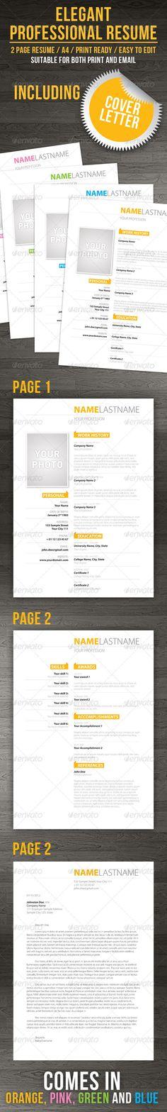 Print Templates - Elegenat Professional Resume + Cover Letter   GraphicRiver