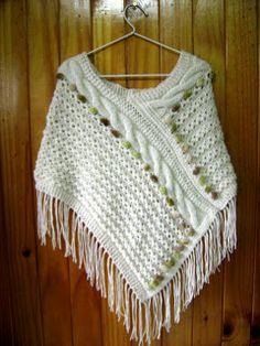 Tejidos Nanita: 1/08/10 - 1/09/10 Sweater Knitting Patterns, Knitted Poncho, Knitted Shawls, Crochet Shawl, Knitting Designs, Crochet Stitches, Baby Knitting, Crochet Patterns, Crochet Girls