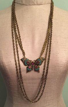 "Marilyn Schiff Goldtone Enamel Butterfly Multistrand Necklace 29"" #Unbranded"
