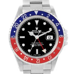16146 Rolex GMT Master II Pepsi Bezel Steel Automatic Mens Watch 16710 SwissWatchExpo