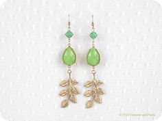 Gold Filled // Vintage Sea green Stones // Avocado Green Droplets // Leaf // Long Dangle Earrings // on Etsy, $45.37