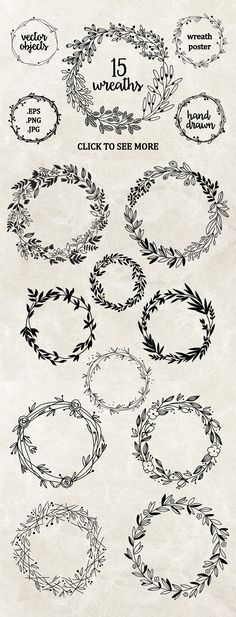 Perfect wreaths for doodling! Try these bullet journal and planner doodles today. Embroidery Designs, Embroidery Stitches, Hand Embroidery, Machine Embroidery, Creative Embroidery, Flower Embroidery, Wedding Embroidery, Embroidery Tattoo, Floral Embroidery Patterns