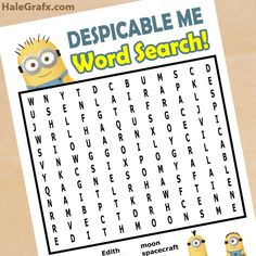 FREE Printable Despicable Me Word Search